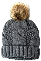 Women's Thick Cable Knit Beanie Hat with Soft Faux Fur Pom Pom