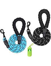 Dog Leash 2 Pack 5 FT Reflective Rope Comfortable Padded Handle for Medium and Large Dogs, Including a Garbage Bag and a Poop Bag Holder