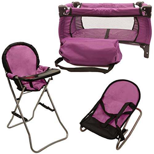 Mommy & Me 3 in 1 Doll Play Set PURPLE , 1 Doll Pack N Play. 2 Doll Bouncer 3.Doll High Chair. Fits 18'' ()