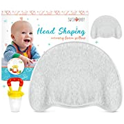 Swish Baby Flat Head Pillow for Sleeping - Head Shaping Memory Foam Pillow for Newborn w/2 Breathable Cotton Pillowcases (Grey Marl)