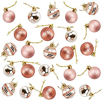 Juvale 24-Pack Christmas Tree Ornaments - Rose Gold Shatterproof Medium Christmas Balls Decoration, Assorted 3-Finish Matte, Glitter, Ribbed, Hanging Plastic Bauble Holiday Decor, 2.4 Inches
