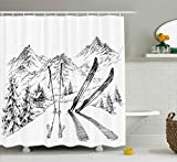 Sports Decor Shower Curtain by Ambesonne, Winter Activity Skiing with Gear Set on the Mountain Peak Everest Sketchy Image, Fabric Bathroom Decor Set with Hooks, 75 Inches Long, White