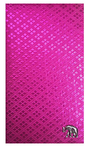 Pink Thai Fabric Waitstaff Organizer Guest Check Presenter, Check Book Holder for Restaurant, Guest Checkbook Cover, Server Book for Waiters with Money Pocket (With Plastic Covers) by Kathy