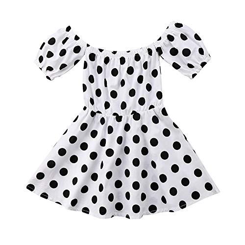 Theshy Toddler Infant Baby Girls Polka Dot Off Shoulder Princess Party Dresses Clothing ()