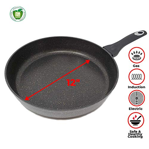 - Non Stick Stone Marble Coating Hard Cast Anodized Forged Aluminum Fry Pan With Induction Bottom & Cool Touch Handle, 5 Year Warranty (12 Inch)