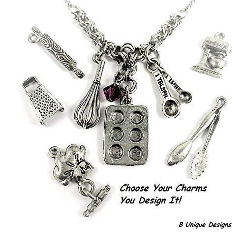 Bake Charm Necklace Baking Pan Whisk Measuring Spoons and You Design Yours Add Charms of Your Choice Personalized Baker's Jewelry Stainless Steel Chain Mail