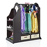 Guidecraft Classic Expresso Children's Dress-Up & Vanity with Mirror - Armoire, Dresser Kids' Furniture