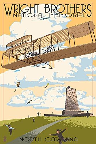 Outer Banks, North Carolina - Wright Brothers National Memorial (9x12 Art Print, Wall Decor Travel Poster)