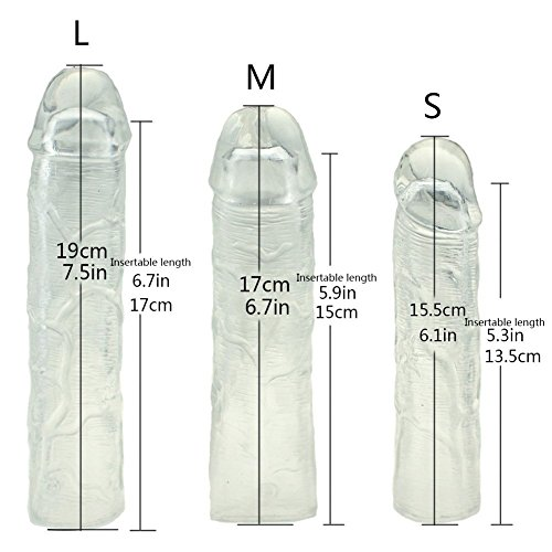 Dimlan 3PCS Reusable Penis Sleeve Extender Clear Silicone Extension Sex Toy Cock Enlarger Condom Sheath Delay Ejaculation Toys for Men (3pcs Small, Medium and Large Included).53-2