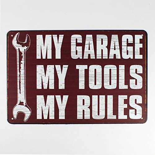 Indoor or Outdoor Use Decorative Sign 12x18 inches Lplpol Garage Rules Pin Up Girl Sign Great Tool Sign for The Garage or Shop with just The Right Rules Vintage Tin Sign