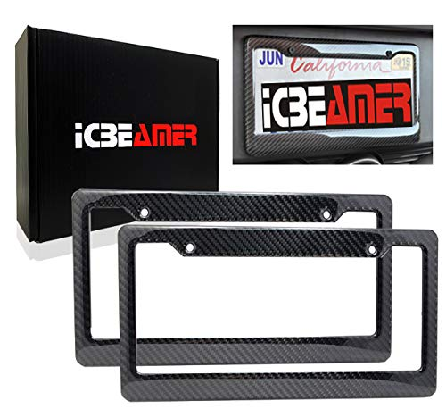 2001 Nissan Sentra Carbon - ICBEAMER Waterproof Black Plastic +Gloss Real Carbon Fiber for Auto Vehicle Truck Van License Plate Frames [Pack 2 pcs]