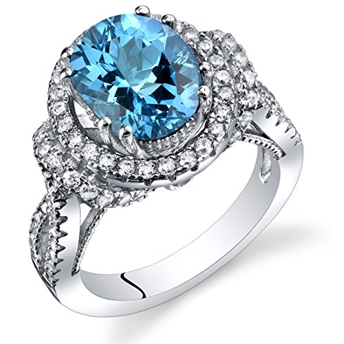 (Swiss Blue Topaz Gallery Ring Sterling Silver Oval Shape 3.00 Carats Size 8)