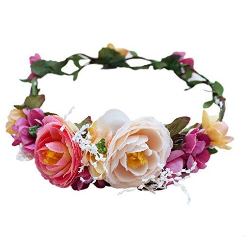 - Vivivalue Floral Halo Boho Flower Headband Floral Crown Headpiece Hair Wreath with Ribbon Wedding Party Prom Photos Festival