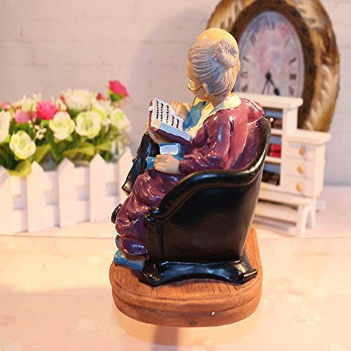 Coostyle Learning Elderly Couple Figurines, Loving Old Age