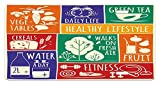 zaeshe3536658 Fitness License Plate, Collage of Different Colorful Frames with Motivational Signs Vegetables Exercise, High Gloss Aluminum Novelty Plate, 6 X 12 Inches.
