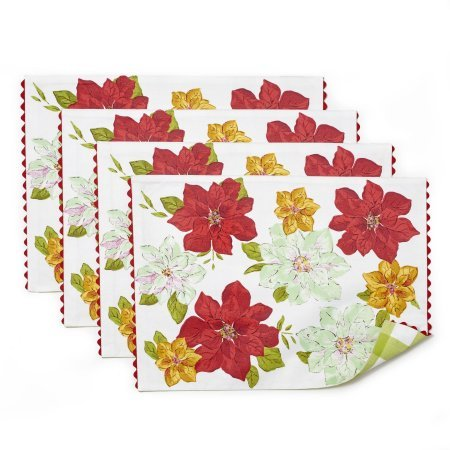 The Pioneer Woman Poinsettia Reversible Placemat with Ric Rac Trim, - Place In Stores Pioneer