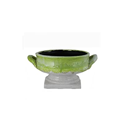 Essentials D/écor Entrada Collection Ceramic Vase with Handles 11 by 9 by 12-Inch Olive Green