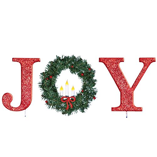 KNL Store Glittered Red Christmas Stake Lighted Christmas Outdoor Yard Decoration Joy or Peace Joy