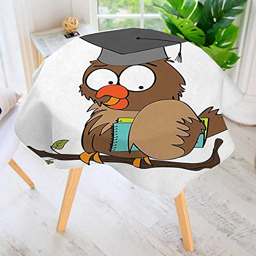 UHOO2018 Table Decoration Durable-Owl Teacher Instructor on Branch Professor Intelligent Illustration Cocoa Chocolate for Home Kitchen Dining roomWaterproof Coffee Tablecloth 67