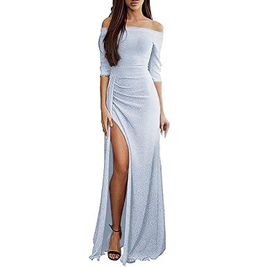 e79a107f664 Longra Femmes Robe Moulante à épaules dénudées Femmes Haute Fente  Asymétrique Longue Maxi Robe Automne Hiver