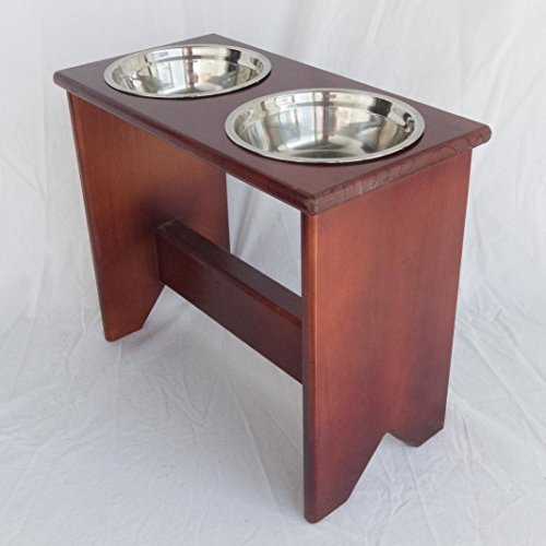 Elevated Dog Bowls Stand - Wooden - 2 Bowls - 400 mm / 16'' Tall - Raised Dog Food and Water Bowls by Fabian Woodworks