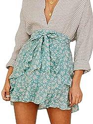 Season 4 Women S Floral Print Ruffle A Line Skirt High Waist Belted Mini Skirt Light Green S