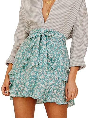 BerryGo Women's Boho Floral Ruffle Skirt High Waist Aline Skirt Green-L ()