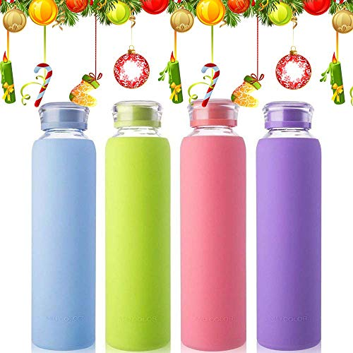 MIU COLOR Glass Water Bottles, for Beverage, Drinking, Juice Bottle, Milk Container, to Go Sports BPA Free,Bubblegum,16 oz