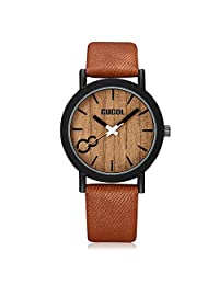 CUCOL Faux Wooden Dial Watches for Men and Women Leather Band Casual Design Brown Color