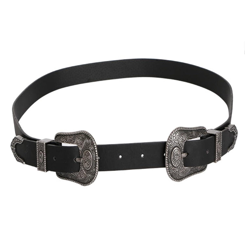 SCASTOE Women Trendy Vintage Metal Waistband Waist Band Belt Double Buckles Accessory
