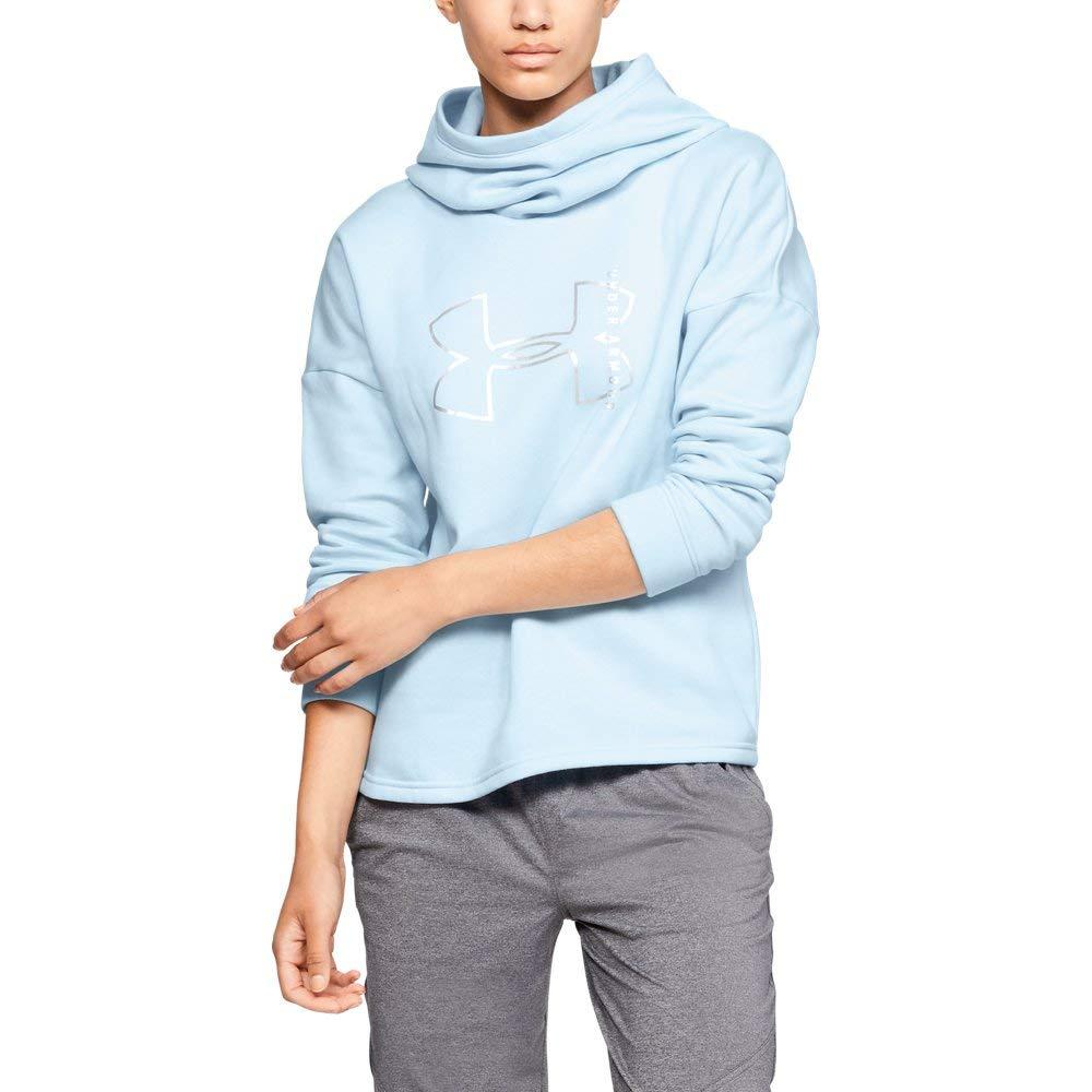 Under Armour Women's Rival Fleece Big logo hoodie, Halogen Blue (441)/Silver, X-Small