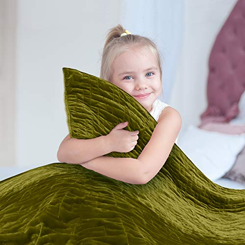 Cheap Weighted Blanket for Kids 5 lb Cool Heavy Blanket for Children 30-40 lbs 2 Soft Covers Green/Yellow Premium Cotton with Glass Beads Perfect for Boys and Girls Sensory Blankets Size 36x48in. Black Friday & Cyber Monday 2019
