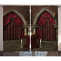 Ambesonne Gothic House Decor Curtains, Mysterious Dark Room in Castle Ancient Pillars Candles Spiritual Atmosphere Pattern, Living Room Bedroom Decor, 2 Panel Set, 108 W X 90 L inches, Ruby Umber