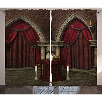 ambesonne gothic house decor curtains mysterious dark room in castle ancient pillars candles spiritual atmosphere