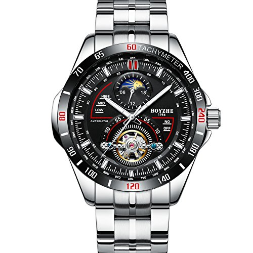 BOYZHE Men Luxury Brand Automatic Mechanical Sports Watches for Men Luminous Waterproof Stainless Steel Leather Watch (Corvette Watch)