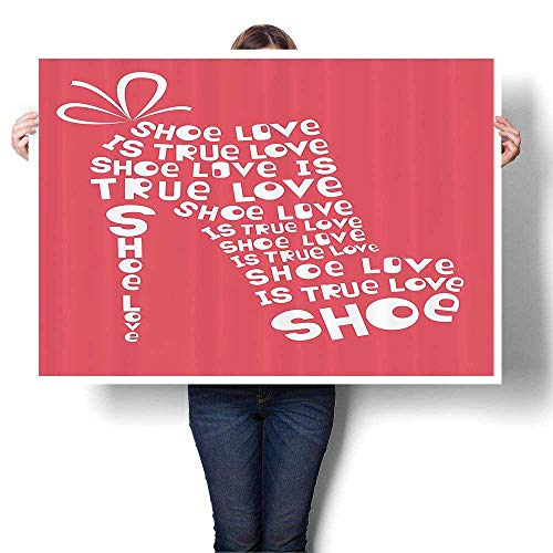 Wall Art Painting Shoe Love is True Love quot shi Colored Woman Shoe Made from Quotes Funny On Canvas Modern Decoration Print Decor for Living Room,44