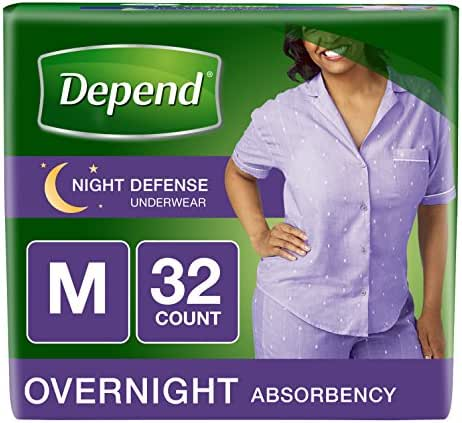 Depend Night Defense Incontinence Overnight Underwear for Women, M, 32 Count (Packaging may vary)