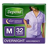 Depend Night Defense Incontinence Overnight Underwear for Women, Medium 32 Count