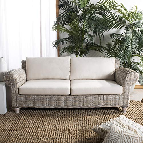 Safavieh CWK1002A Home Collection Tahiti Wicker White Wash and Beige 2.5 Seater Sofa