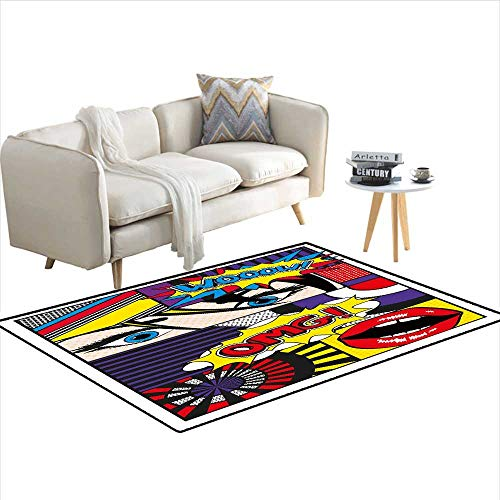 - Carpet,Comic Book Inspired Style Wooow OMG Eyes Reading Panels Lines Excitement Action Print,Non Slip Rug Pad,Multicolor 55