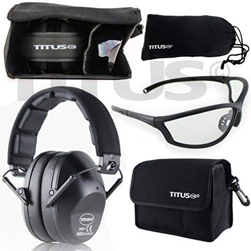 Titus TOP Slim-Line Safety Glasses and Earmuff Combos (Black, G26 Clear w/Competition Frame) by Titus