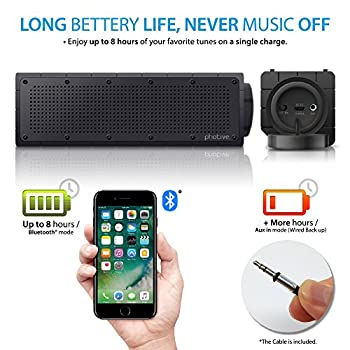 Photive Hydra Portable Bluetooth Speaker With Enhanced Bass. Waterproof Rugged Portable Speaker For Home, Travel & Outdoors 3
