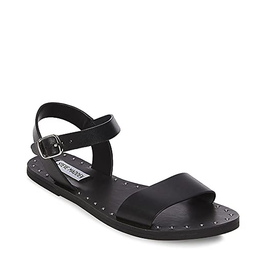 Steve Madden Women's dupe Black Leather Sandal ...