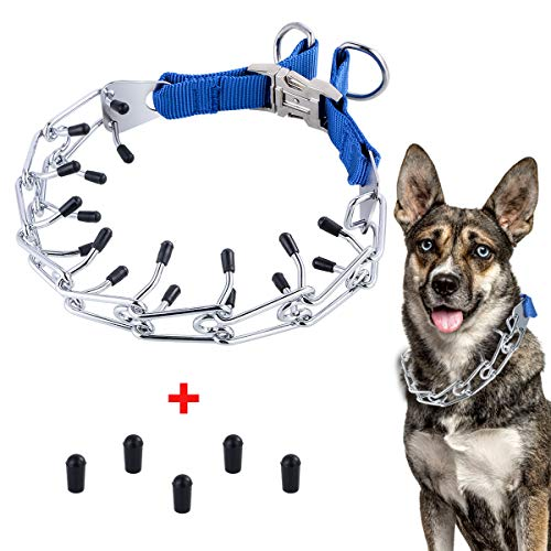 Petyoung Dog Prong Training Collar, Metal Gear Pinch Collar Dogs Quick Release Snap Buckle with Rubber Tips for Medium Large Dog Trainer (Blue)