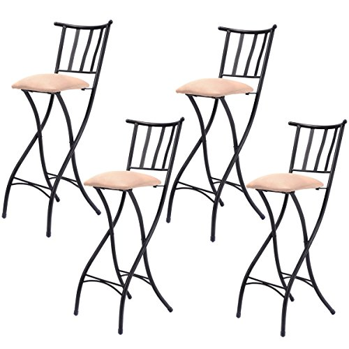 """COSTWAY Set of 4 Folding Bar Stools Counter Height Bistro Dining Kitchen Pub Chair (Height from Ground to Seat: 28.3"""") from COSTWAY"""