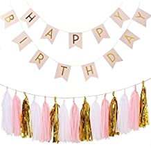 Birthday Bunting Banners, G2PLAY Golden Garlands Pack with 15 Gold Tassels for Happy Birthday Decorations (Pink)