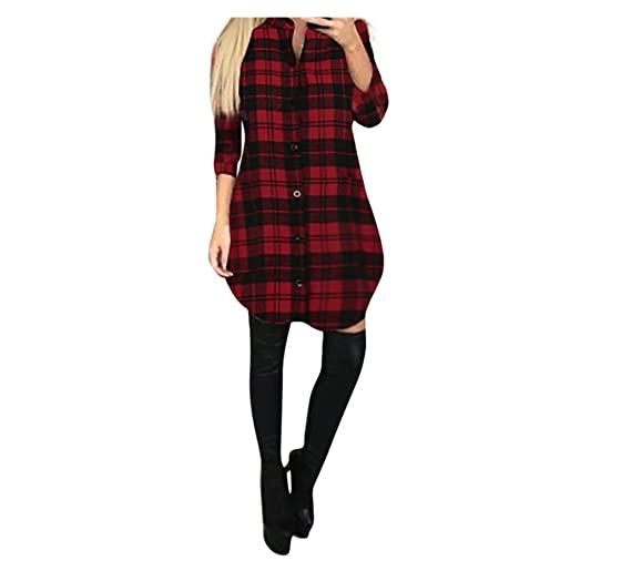 FORH Damen Elegant Karierte Sweatshirt Bluse Casual Langarm Trachtenhemd ButtonHemden Oversize Long Cardigan MiniKleid Freize