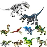 LTCtoy 10pcs Dinos Toy, Included 2 Large Size Buildable Dinosaur Building Blocks Figures with Movable Jaws,T Rex Baryonyx