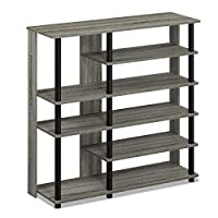 FURINNO 17080EX/BK Turn-N-Tube 5 Tier Shoe Rack, Espresso/Black