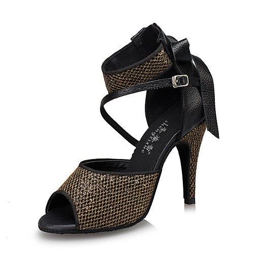 T.T-Q Damen Tanzschuhe Leder Modern Sneakers Chunky Heel Schwarz Latin Sandalen Salsa Jazz Tango Swing Praxis Innen Performance  42|Schwarz